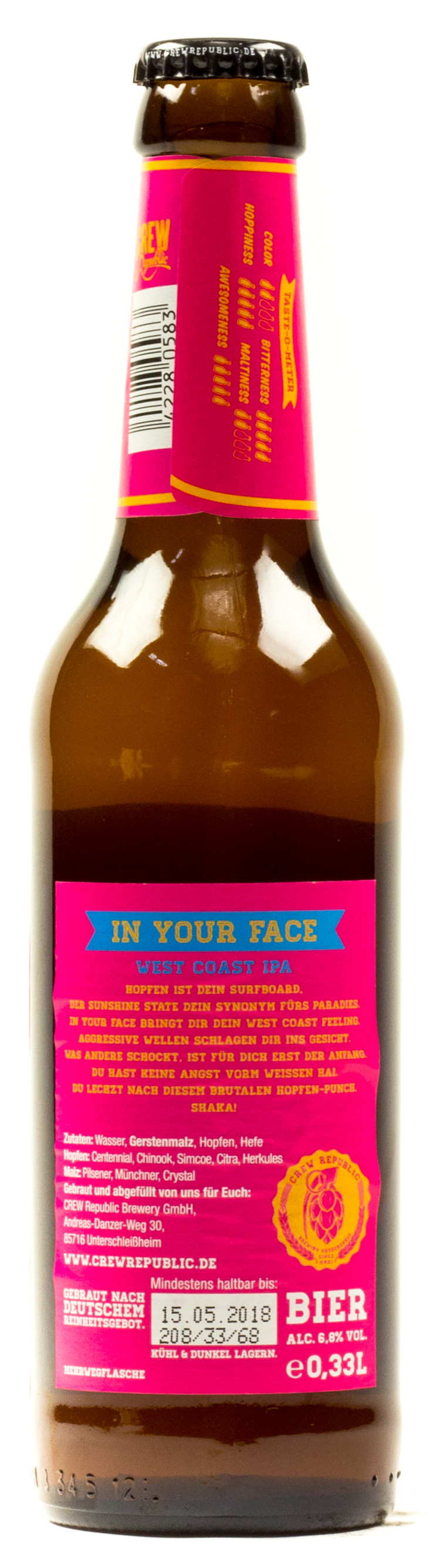Crew Republic In Your Face handcrafted 0,33 l Glas Mehrweg