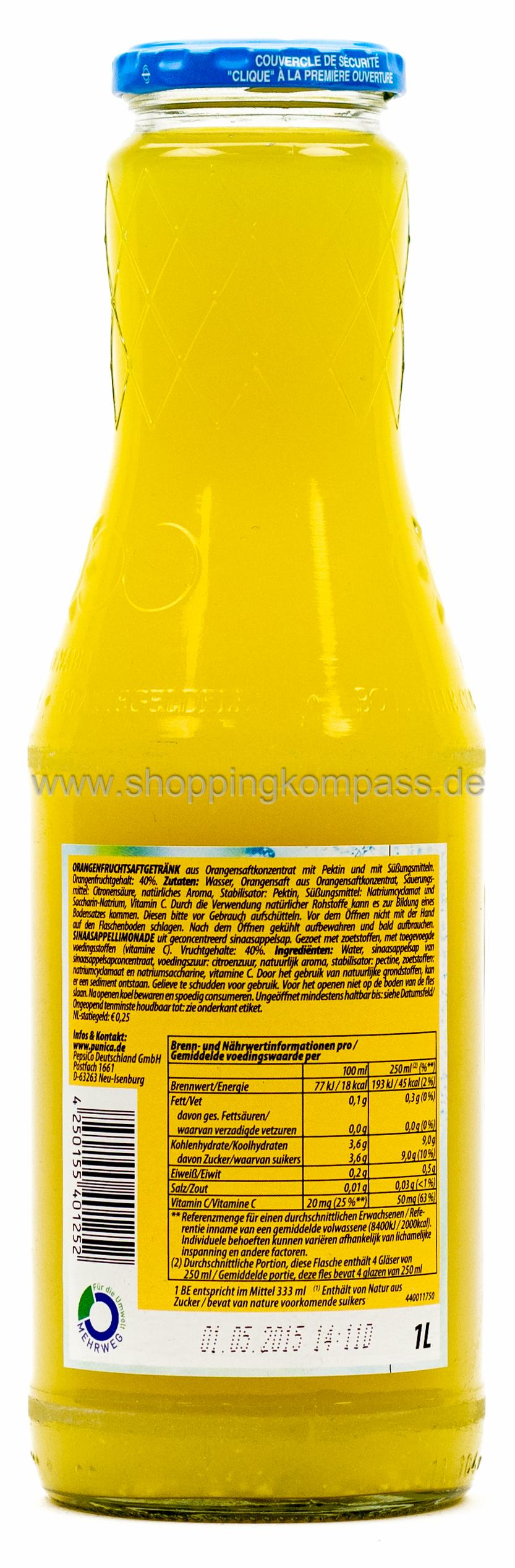 Punica Orange Plus Vitamin C 1 l Glas Mehrweg