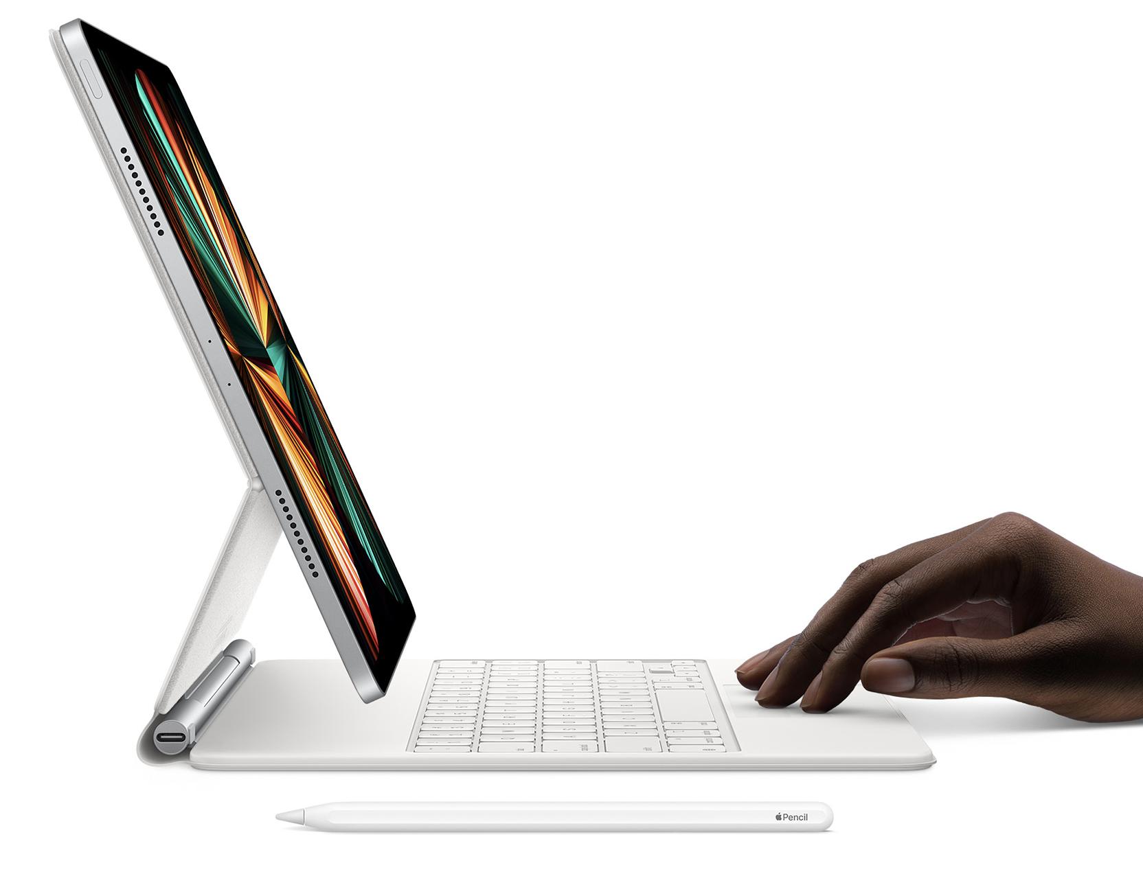 iPad Pro in a white Magic Keyboard case