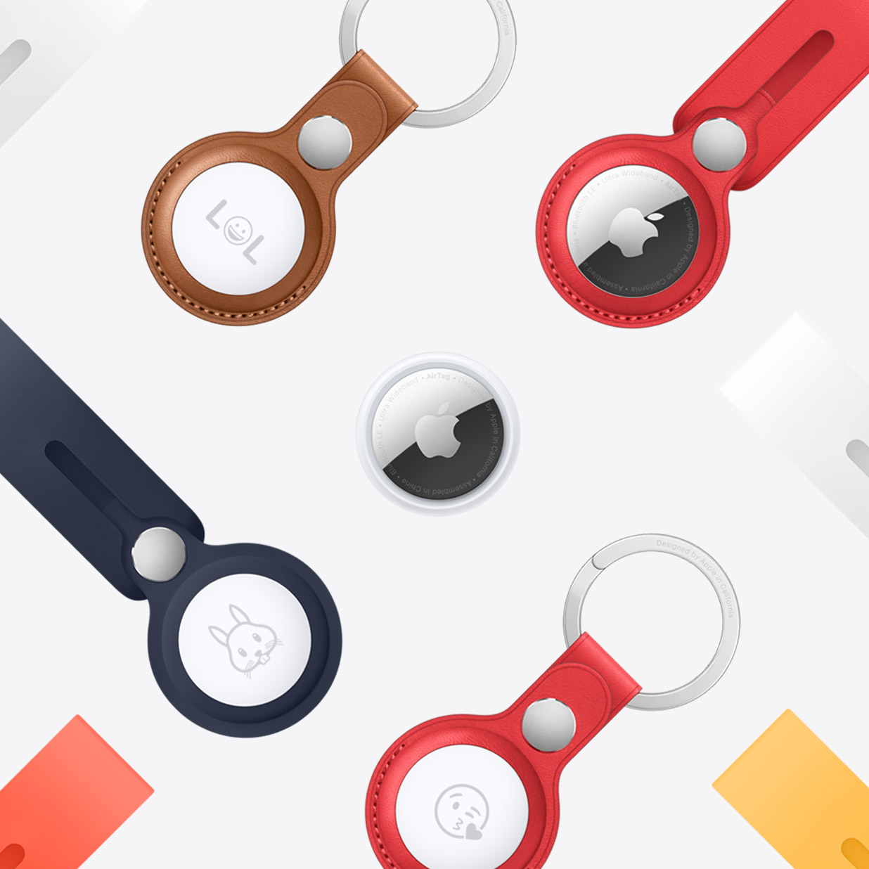 Lots of colorful Apple AirTags