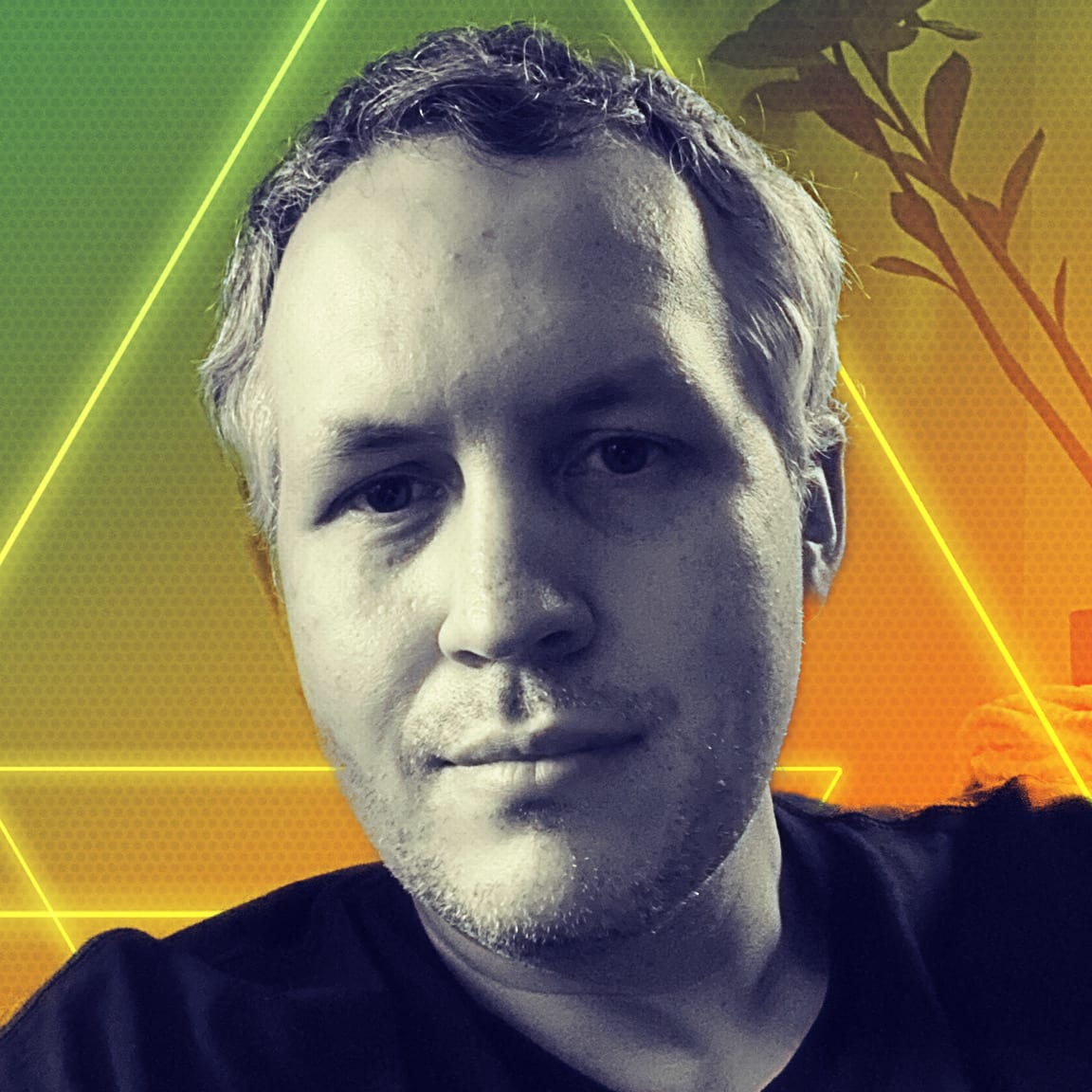 Photo of David Demaree with colorful background