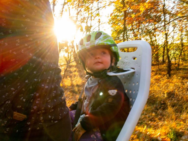 Kleinkind auf einem Fahrradkindersitz