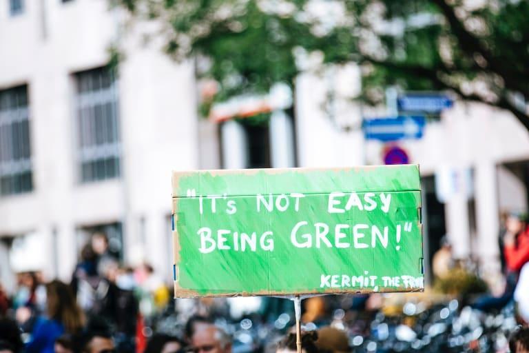 Ein Demonstrationsschild: Es ist nicht einfach grün zu sein.