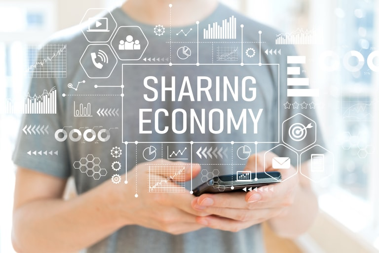 Visualisierung der Sharing Economy.