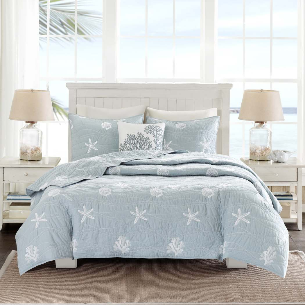 Chic Grey Blue White King Cal King Coverlet Set Beach Themed Bedding