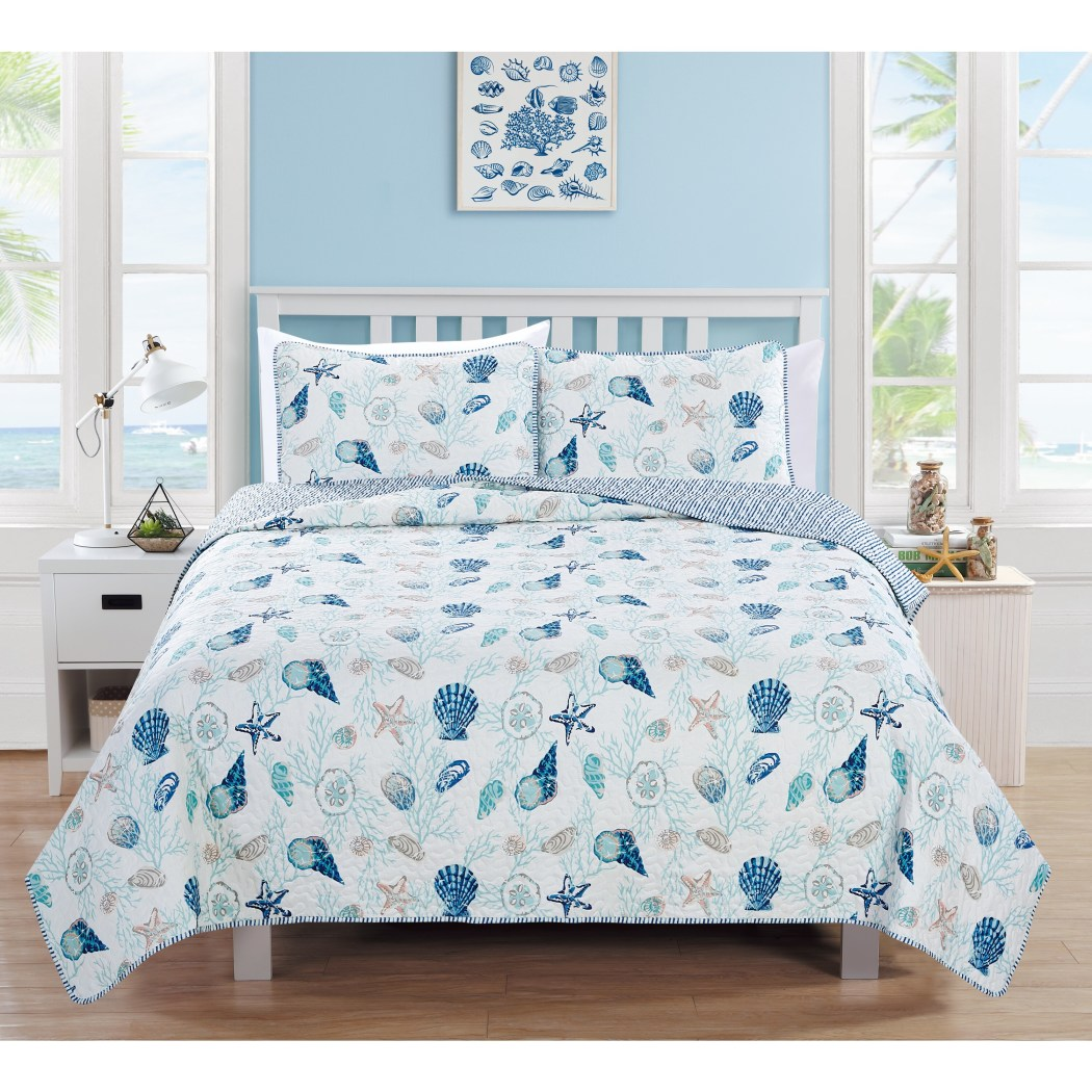 3 Piece bluee White Seashells Themed Quilt Full Queen Set Coastal Bedding Beach