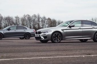 Watch a Mercedes-AMG E63 S and BMW M5 Run Neck-And-Neck in a Drag Race
