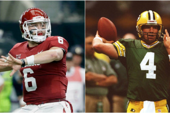 Top quarterback prospect Baker Mayfield channels Brett Favre's iconic photo ahead of the NFL draft