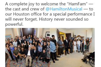 President George H.W. Bush gets special performance from the cast of 'Hamilton'