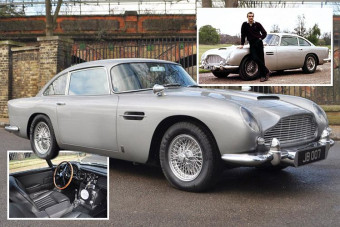 Classic Aston Martin DB5 converted into James Bond replica complete with machine guns and gadgets to sell for £1million