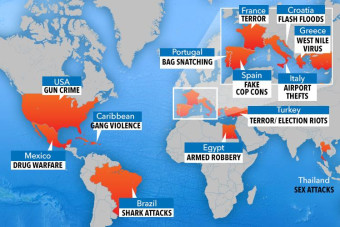 Holiday danger map reveals terror, crime and health threats on YOUR summer getaway