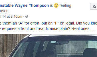 Texas driver tries to pass off a cardboard license plate, but constable calls it out online