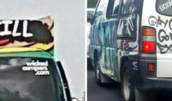 'Sickening' slogan on Australian rental van leads to new calls for popular campers to be banned