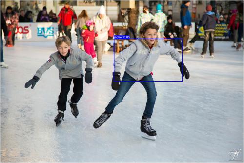 Ice-skating image with blue bounding-box overlaid on the jacket