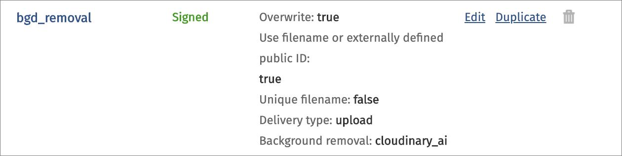 Upload preset definition
