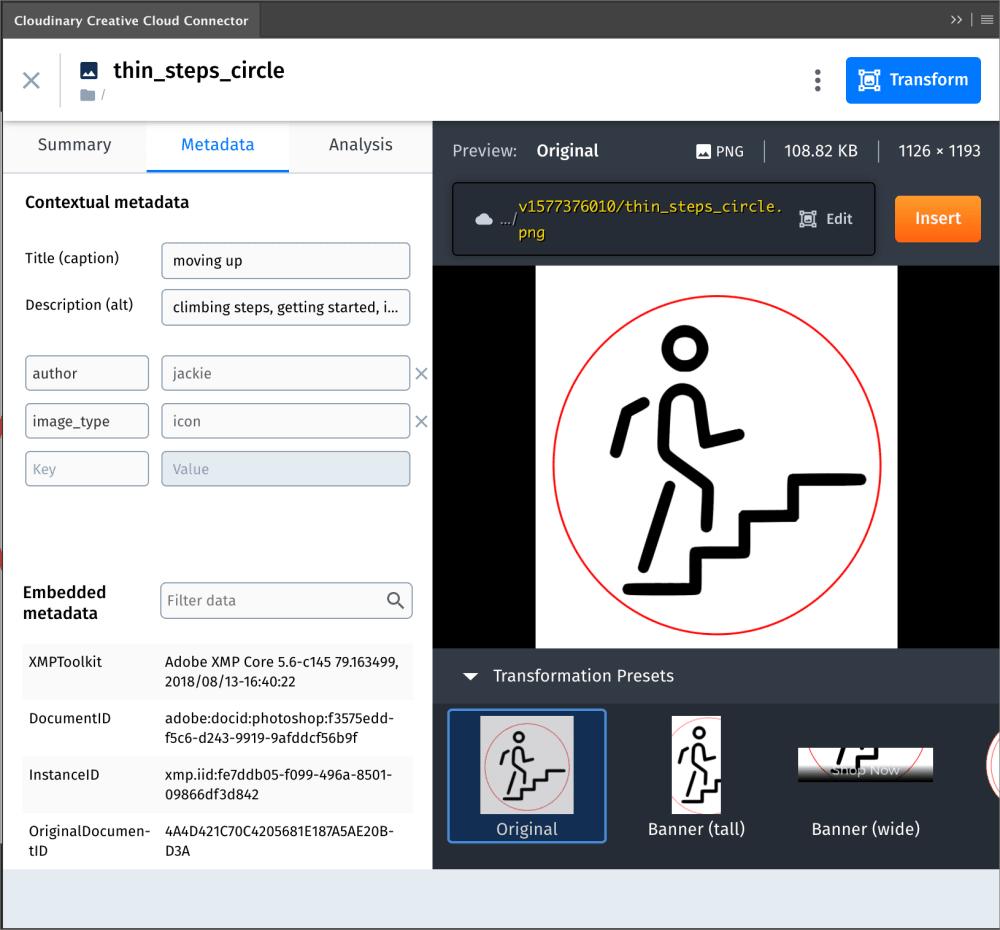 Connector asset toolbar