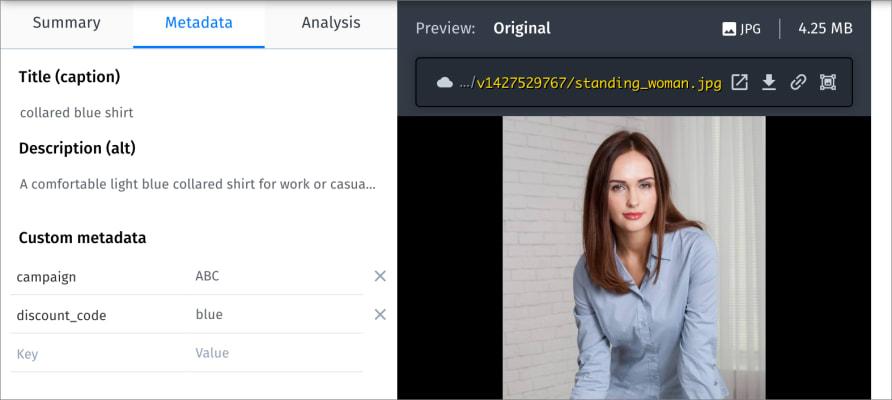 Sample contextual metadata in Asset Management page