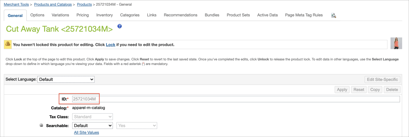 Product page showing ID