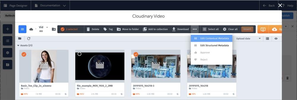 Media library asset toolbar