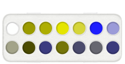 Paint palette as seen by someone with deuteranopia
