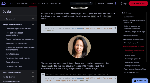 Screen capture of the Cloudinary website