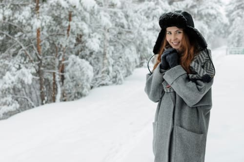 Woman dressed fashionably for winter
