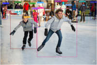 Ice skating with coco bounding boxes