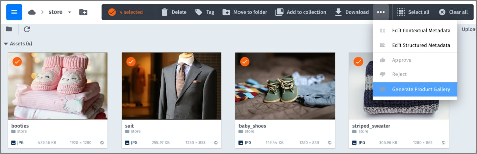 Generate Product Gallery in the Asset toolbar