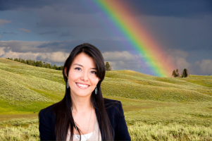 No background + rainbow scene