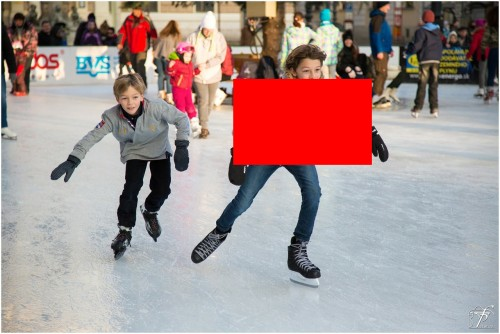 Ice-skating image with red box overlaid on the jacket