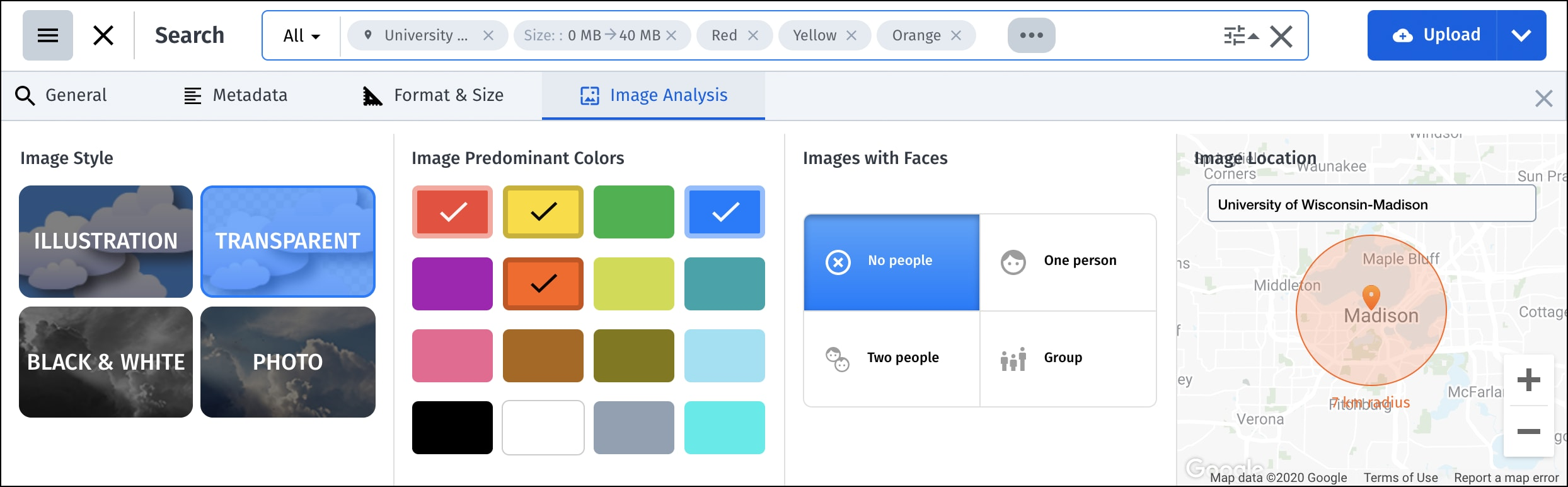 Search tab: Tags & Metadata