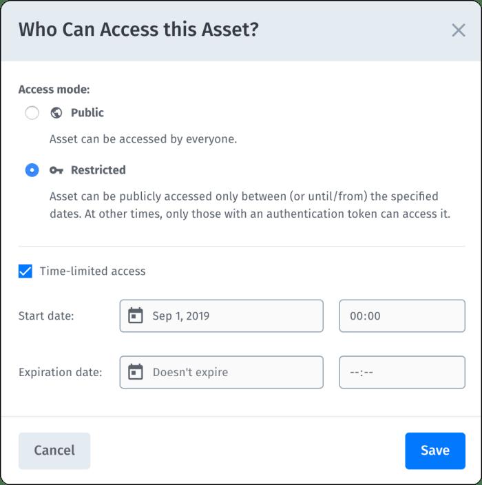 Access control settings dialog box
