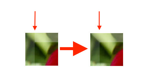 before->after effect on the top-left corner