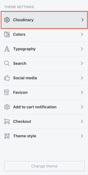 Shopify theme settings