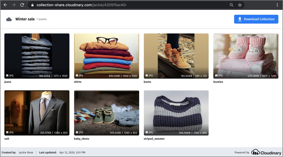 Shared visual collection web page