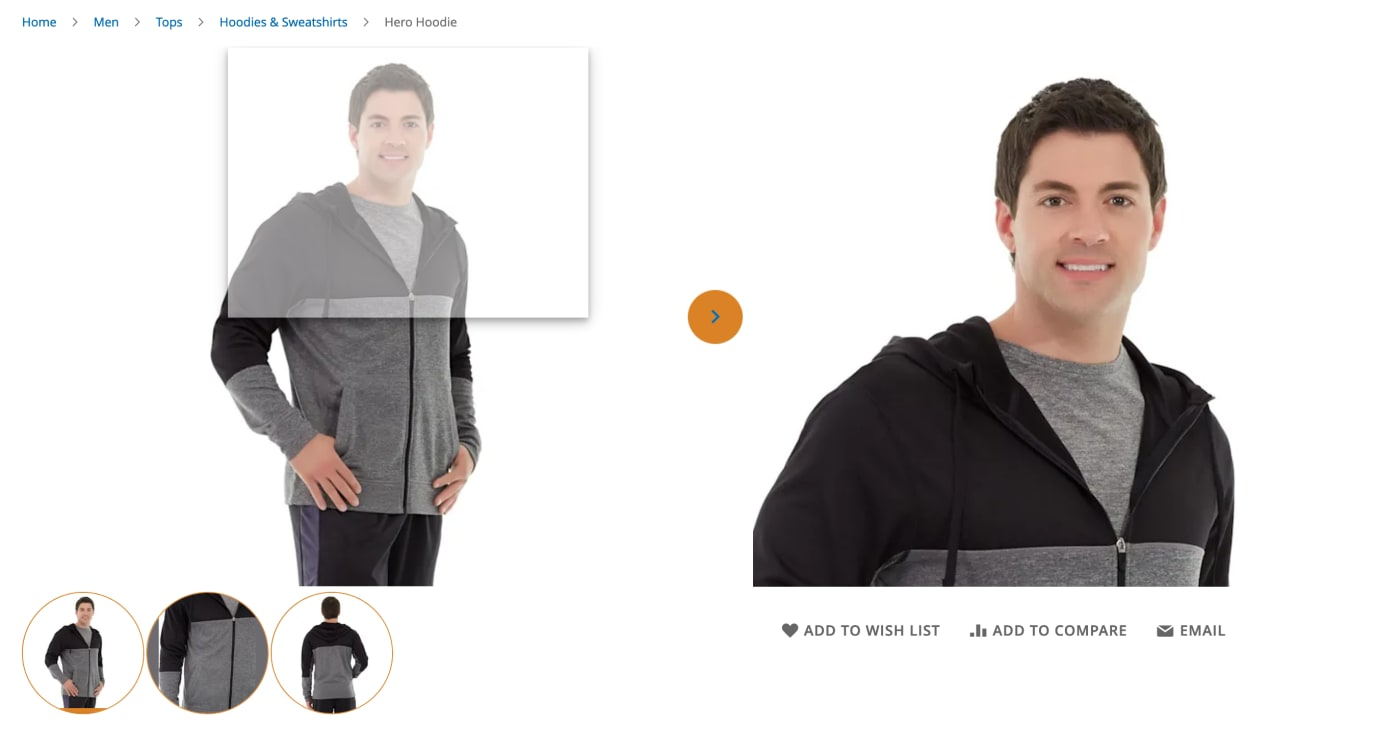 Example of customized product gallery in Magento