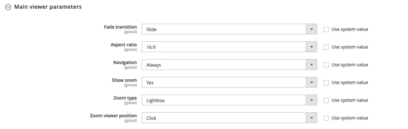 Configure main viewer parameters