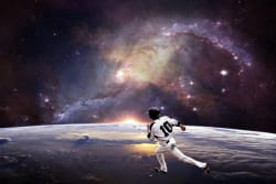 Baseball player in outer space