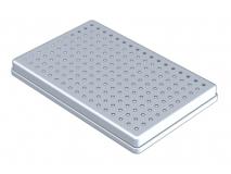 Aluminium anodisé couvercle  perforé gris  (Format 28 x 18 x 2,5 cm) img