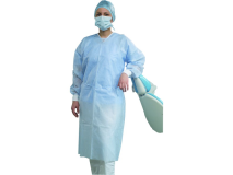 Surgical gown with cotton cuffs (light blue) img