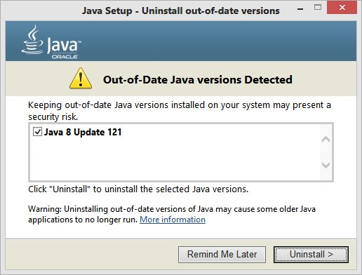 Out of Date Java Version Detected