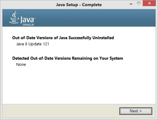 Out of Date versions of Java Successfully Uninstalled