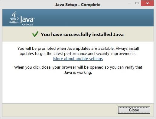 Java installation successful