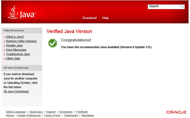 Java installation success