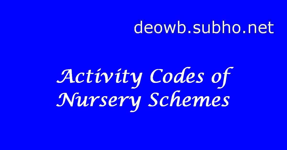 MGNREGA Nursery Scheme Activity Codes