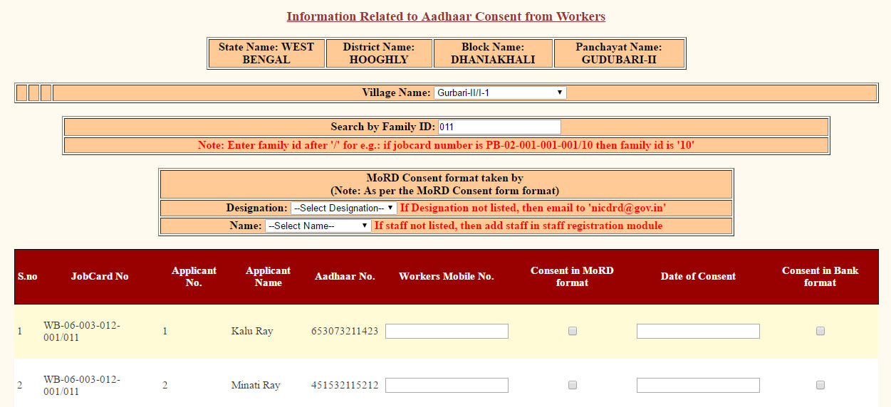 AADHAAR Consent Entry in MGNREGA 2
