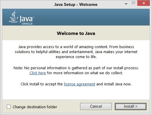 Java shows welcome screen