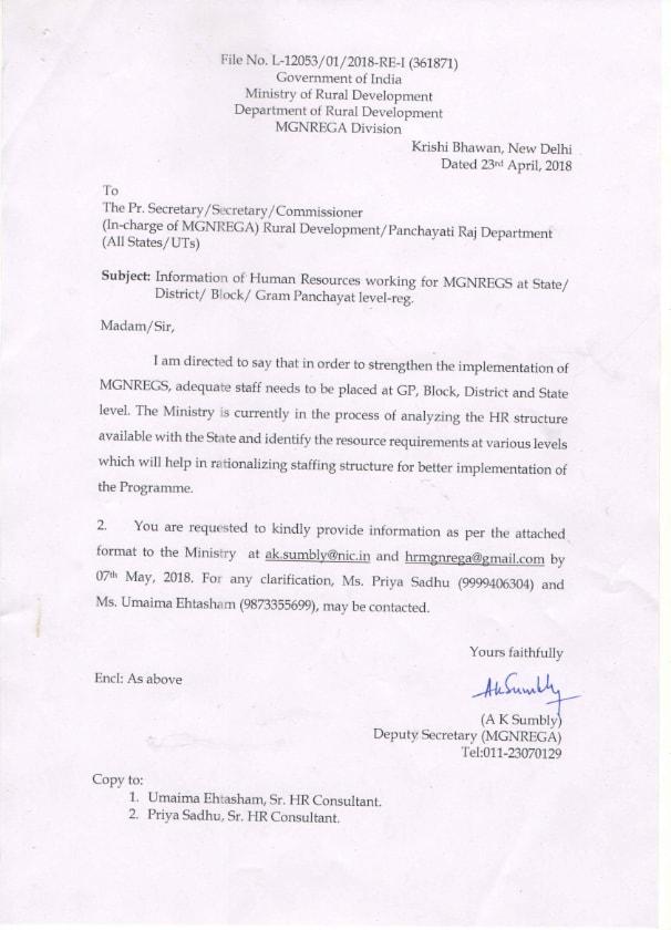 MGNREGA HUMAN RESOURCE REQUIREMENT