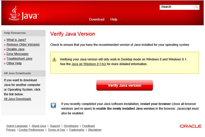 Java installation verification window