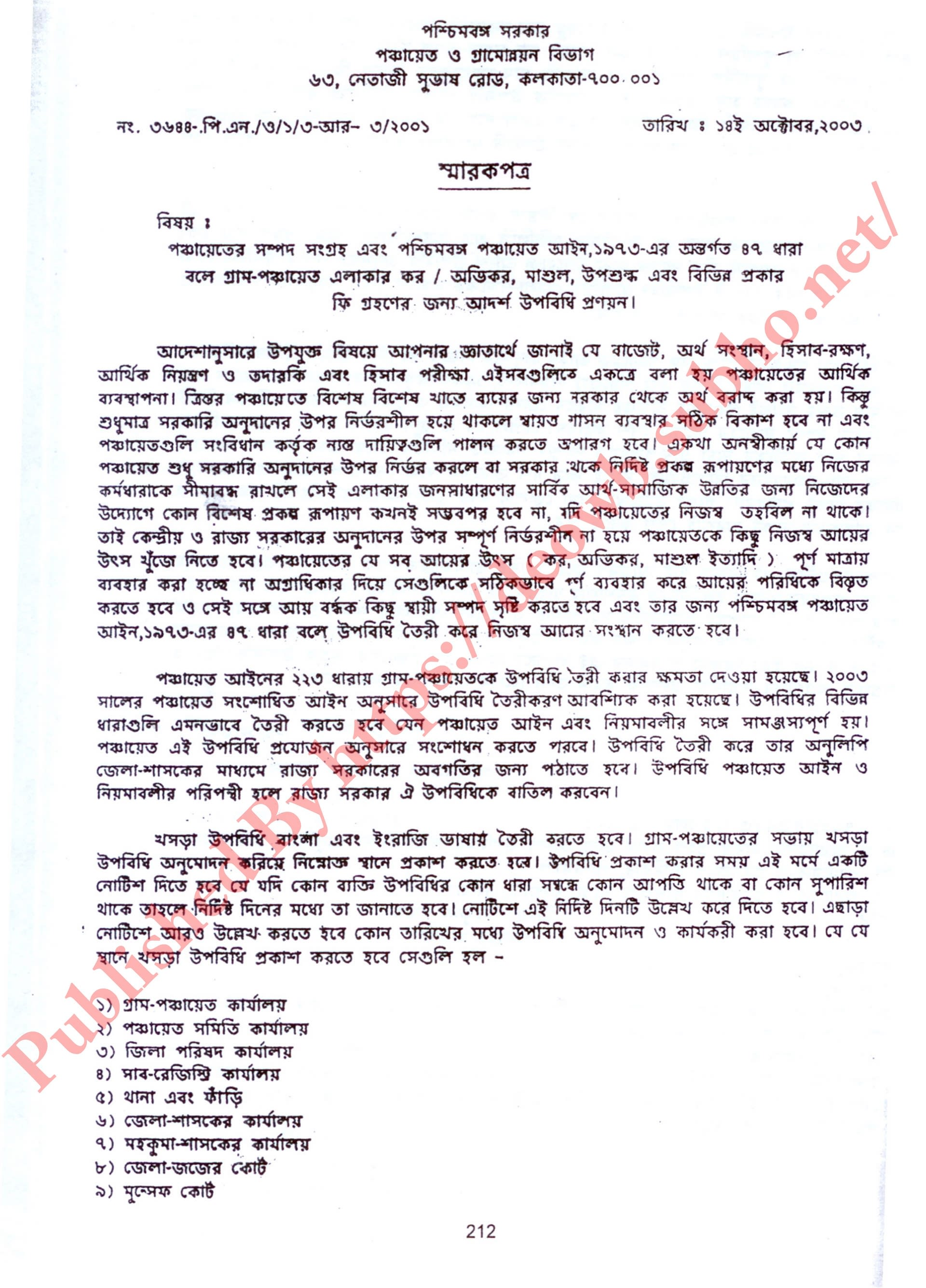 BY LAW UPOBIDHI GUIDELINES 2003 - BENGALI